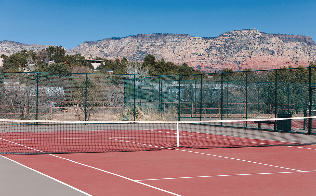 Sedona Public Tennis Court With Red Rocks In Background