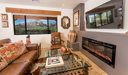 Premium Casita Suite Living Room With Red Rock View
