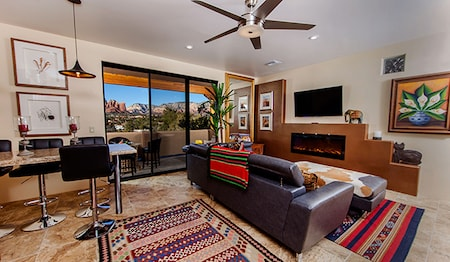 Royal Hacienda Living Room With Red Rock View