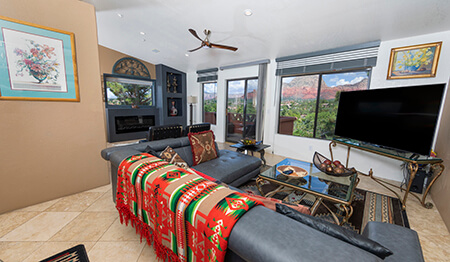 Villa Paradiso Living Room With Red Rock View